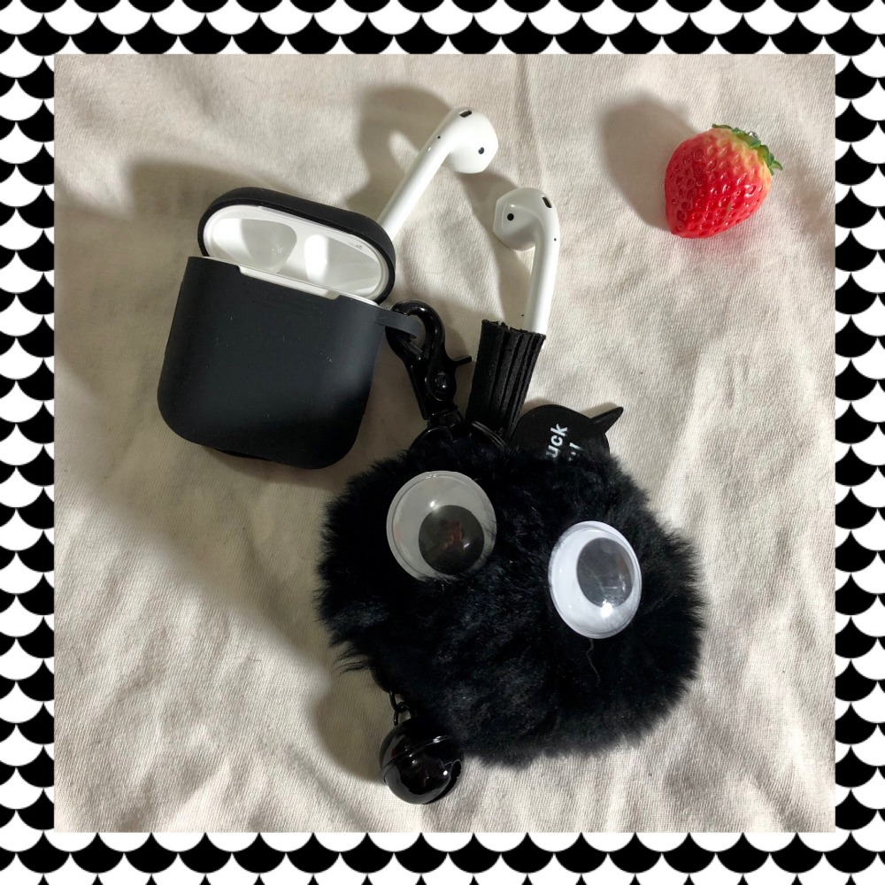 Hayao Miyazaki Anime My Neighbor Totoro Black Carbon Ball Keychain Soft Silicone Case For Airpods Charging Box Keyrings in Key Chains from Jewelry Accessories