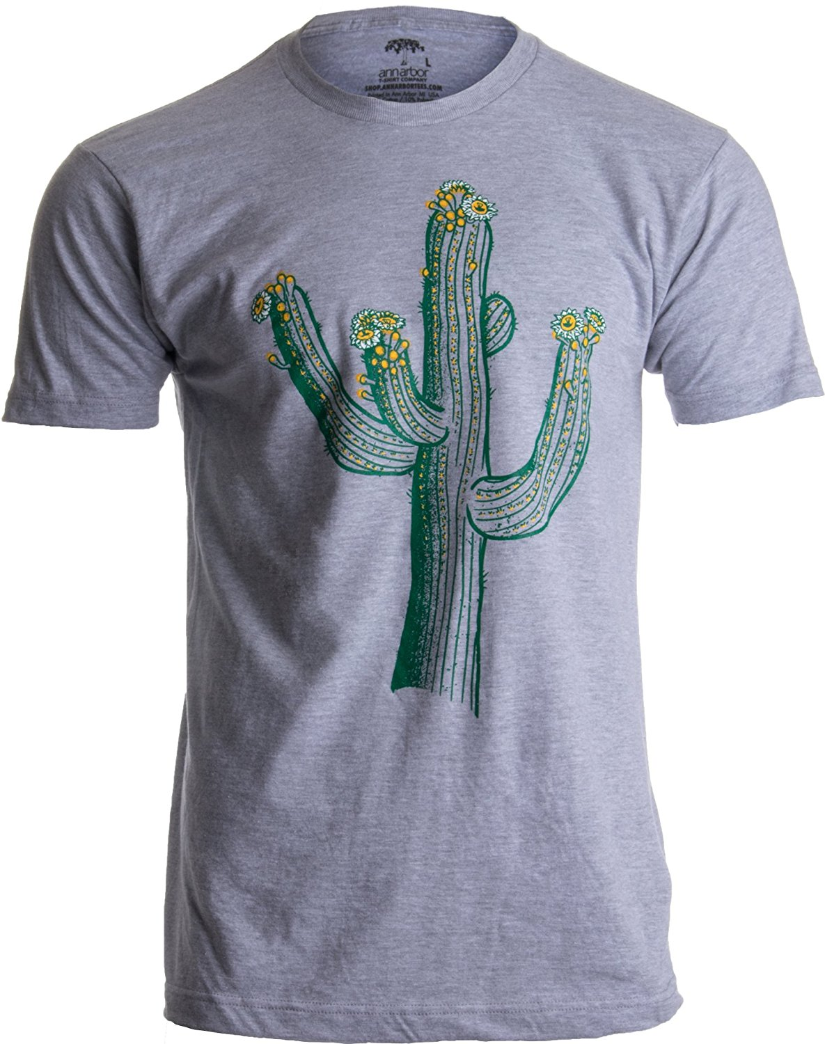 Ann Arbor T-shirt Co. Saguaro Cactus Art  Southwest Line Art, Western Nature Print Mens T-shirt