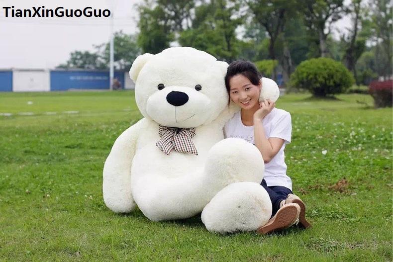 huge 160cm white teddy bear plush toy bowtie bear soft doll hugging pillow birthday gift h1313