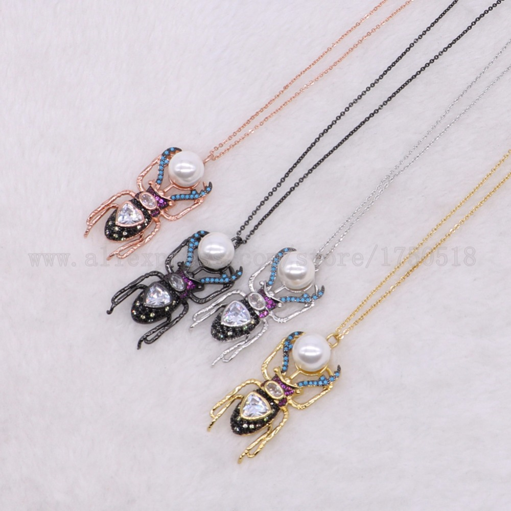 5 pieces bugs charm necklace paved zircon necklace with shell bead costume jewelry high quality stone gems gift for women 2868