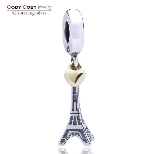 66e4f35f6d785 US $12.66 |925 Sterling Silver Eiffel Tower Charm Beads Fit Pandora  Bracelets Gold Color Heart Pendants For Women pulsera pingente Jewelry-in  Beads ...