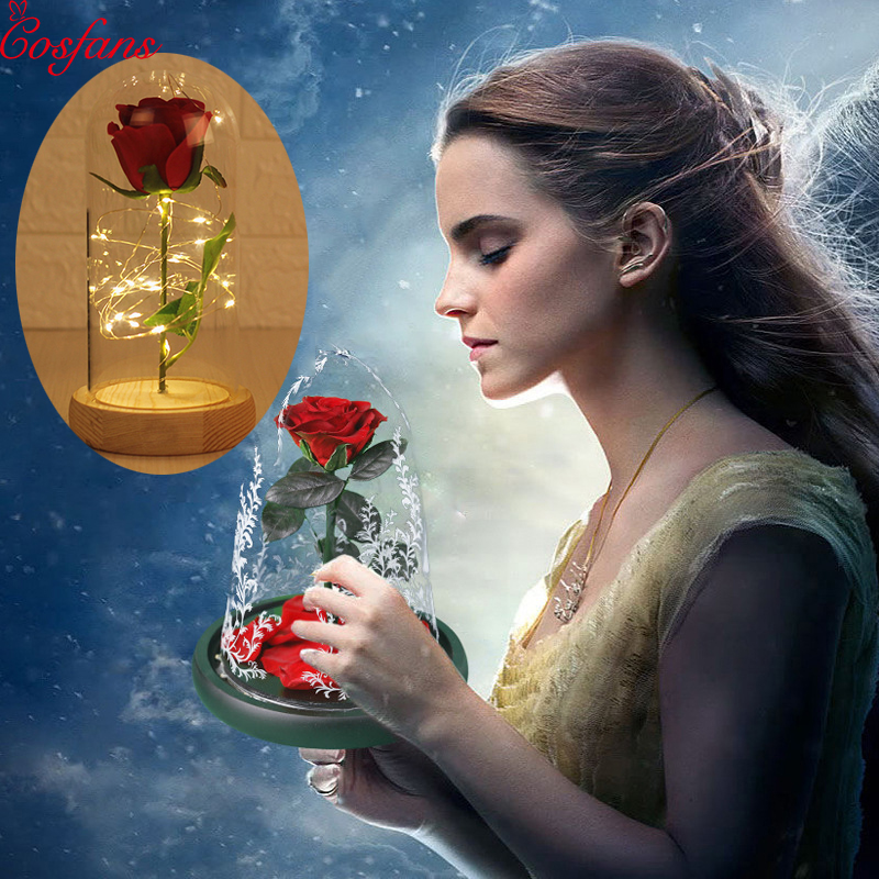 Efficace La Belle Et La Bête Rose Rouge Dans Un Dôme De Verre Sur Une Base En Bois Pour Les Cadeaux De La Saint-valentin Led Lampes Rose Veilleuse De Noël 2019