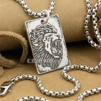 High Detail Deep Engraved Custom 999 Sterling Silver Angry Lion Biker Rocker Punk Dog Tag Pendant