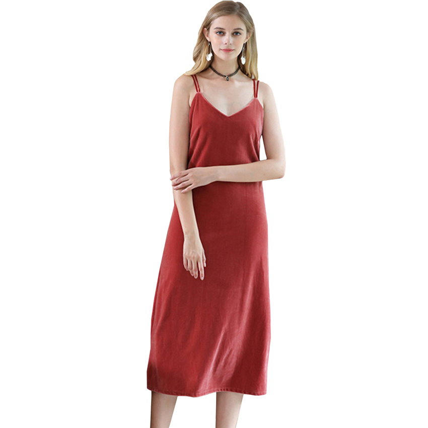 Hight Quality Deep V Neck Nightgowns Dress Women Sexy Sleeveless Spaghetti Strap Evening Party Velvet Dresses Lingerie Camisole