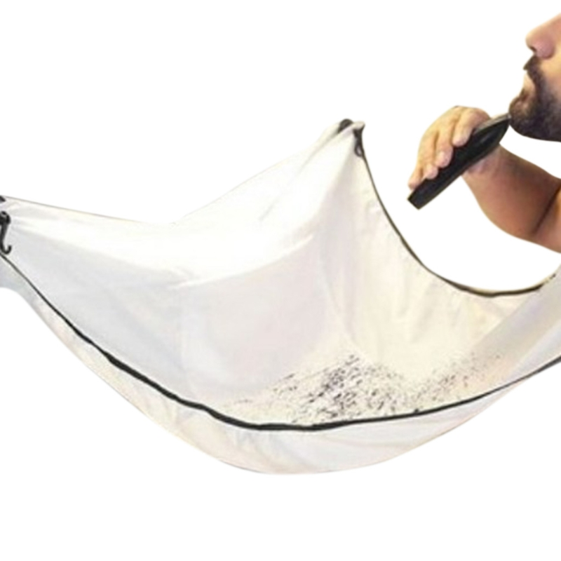 Hot! Unisex Facial Beard Hair Care Shave Haircut Apron Whisker Cape Catcher Cloth Wrap Black White