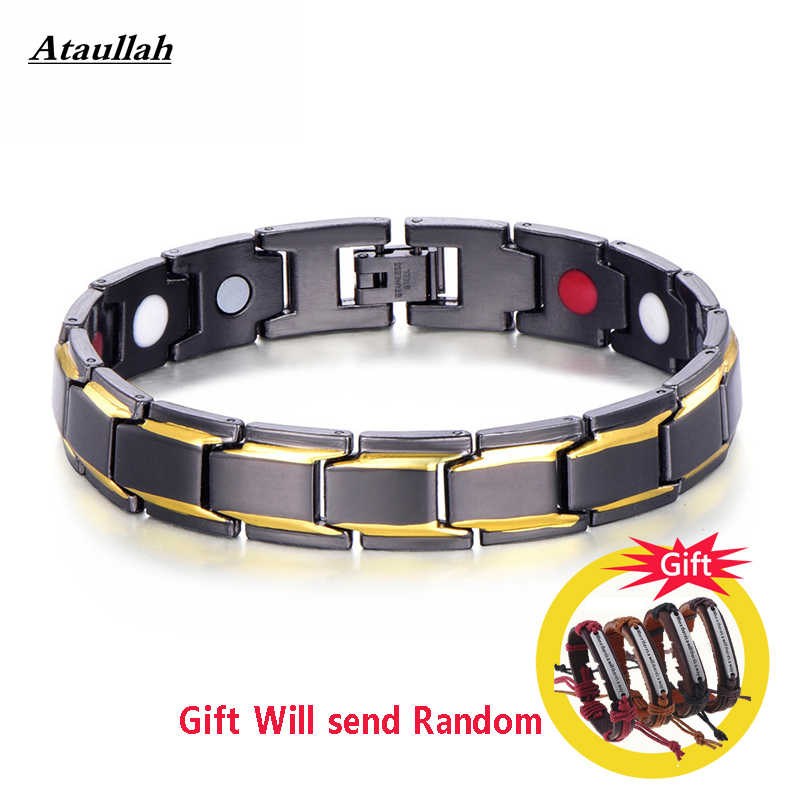 Healthy Magnetic Bracelet for Women Power Therapy Magnets Magnetite Bracelets Bangles Men Health Care Jewelry Stainless WNW137