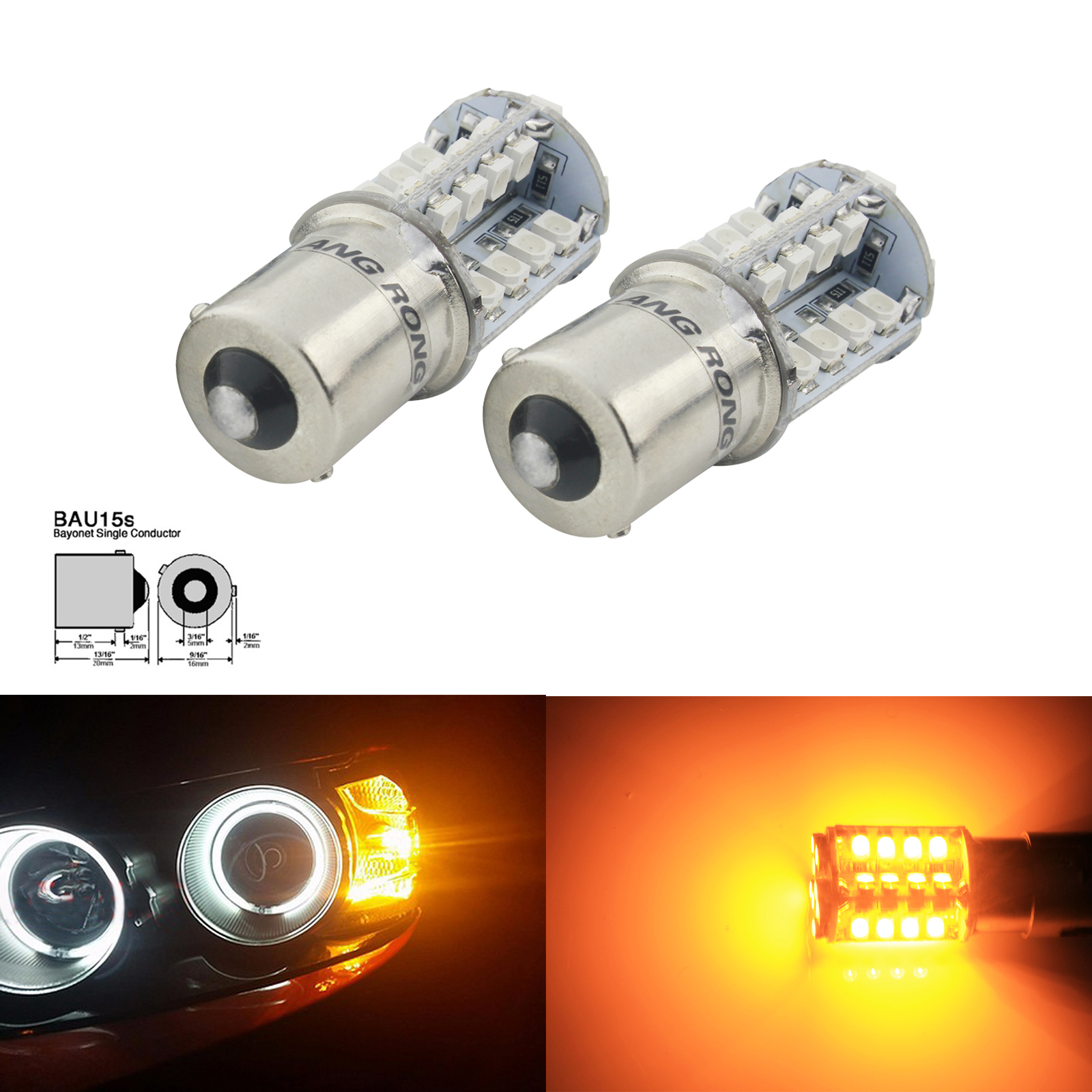 ANGRONG 2x Amber <font><b>Orange</b></font> 40 SMD <font><b>LED</b></font> 581 <font><b>PY21W</b></font> BAU15s P21W RY10W S25 Indicator Signal Front Rear Light 6W image