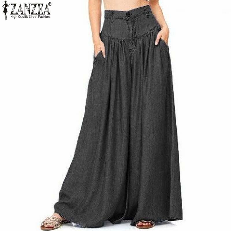 2018 ZANZEA Women Summer Causal   Pants   High Waist Pantalon Zipper Up   Wide     Leg     Pants   Blue Denim Loose Long Trousers S-5XL
