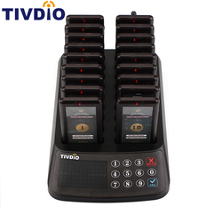 TIVDIO T-115 99 Channel Restaurant Pager Wireless Paging Queuing System 18 Coaster Pager Receiver+1 Keypad Transmitter F9406