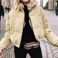 Autumn Winter Corduroy Thick Parka Overcoat Women Outerwear Coats Khaki Streetwear Jacket Coat Female