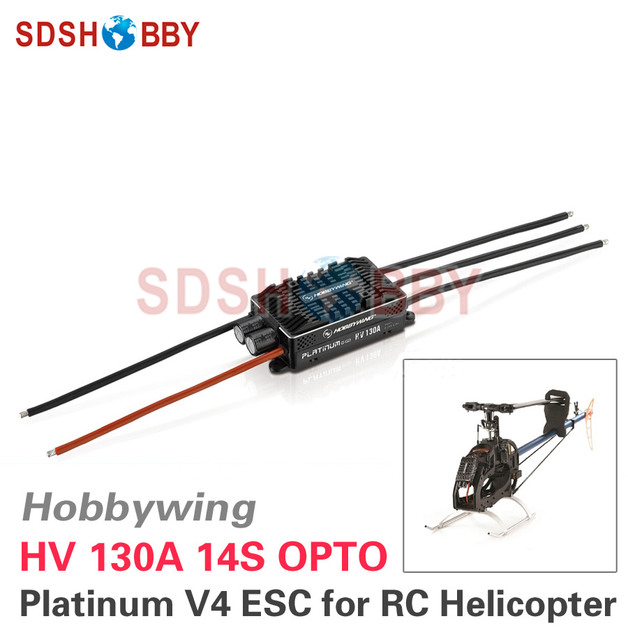 Hobbywing Platinum HV 130A OPTO V4 14S Brushless ESC Electronic Speed Controller for RC Helicopter Fixed-wing Airplane 1pcs original hobbywing platinum 100a v3 high performance esc for align trex 550 600 700 rc helicopter fixed wing esc