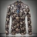 Весна осень мужчины цветочный печать костюм блейзер мужская тонкий мода певец куртка плоской байковые камуфляж верхняя одежда пальто