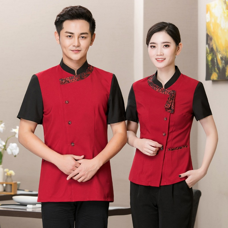 Hotel Workwear Summer Short Sleeves Catering Hot Pot Shop Waiter Uniform Coffee Food Service Shops Staff Jacket Overalls H2145