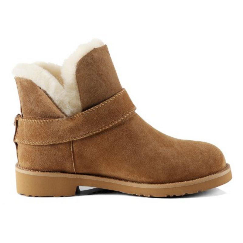 Qualité 32 Chaudes De Fourrure Cheville 41 Rond Taoffen Brown Taille Véritable Cuir Bottes En Peluche Femmes Chaussures Réel Bout Neige D'hiver a1qUw