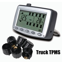 Tire Strain Monitoring System Automobile TPMS with 6 pcs Exterior Sensors Truck Trailer, RV, Bus, Miniature passenger automotive