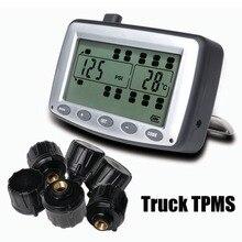 Monitoreo de Presión de neumáticos Sistema TPMS Del Coche con 6 unids Sensores Externos Camión Remolque, RV, Bus, miniatura de coches de pasajeros