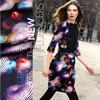 Mysterious UFO Digital Print Silk 93 Elastic Satin Fabric 118CM 100CM 19Mommie