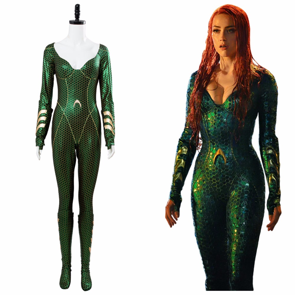 New Aquaman Mera Cosplay Costume Mera Jumpsuit Outfit Halloween Aquaman Superhero Costume Adult Girls Women Jumpsuit Zentai Suit