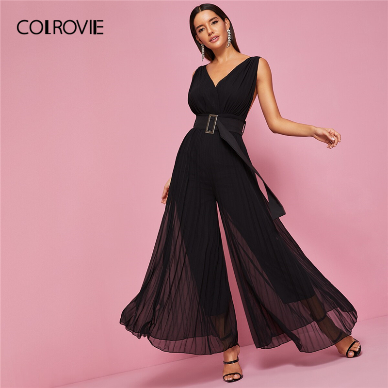 COLROVIE Backless Pleated Wide Leg Belted   Jumpsuit   Women High Waist Solid Maxi   Jumpsuit   2019 Summer V neck Female Sexy   Jumpsuits