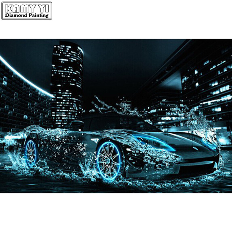 deep blue style new product round full drill diamond painting diy diamond embroidery blue car in city with water_