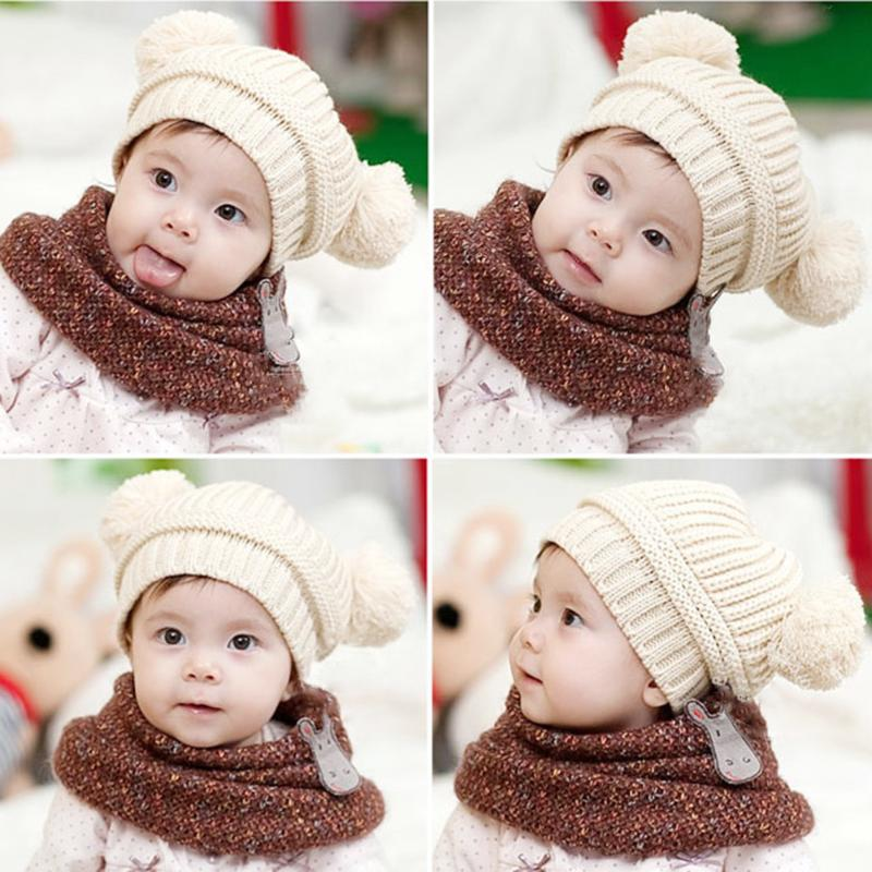 Зимняя детская теплая помпоном Шапки милый двойной Мячи Детские шапки ушанки для От 3 месяцев до 3 лет детская вязаная шапка для Обувь для ма...