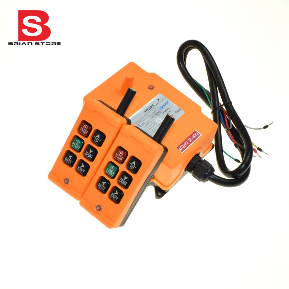 220VAC 6 Channels 2 Transmitters 1 Speed Control Hoist Crane Radio Remote Control System