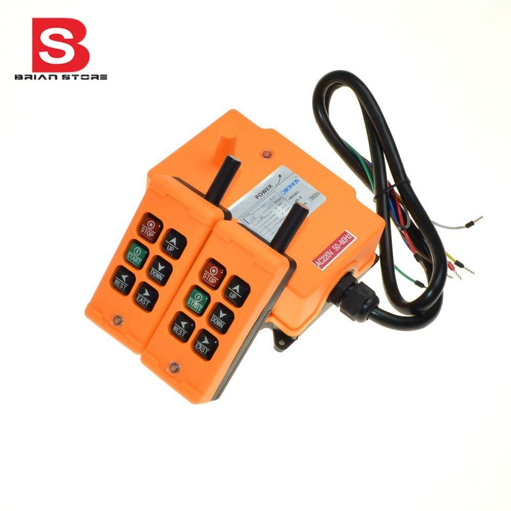 220VAC 6 Channels 2 Transmitters 1 Speed Control Hoist Crane Radio Remote Control System