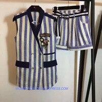 Модные летние женские костюмы комплект из двух предметов Повседневный Топ и Шорты набор Удивительные костюм в полоску жилет мини Комплекты