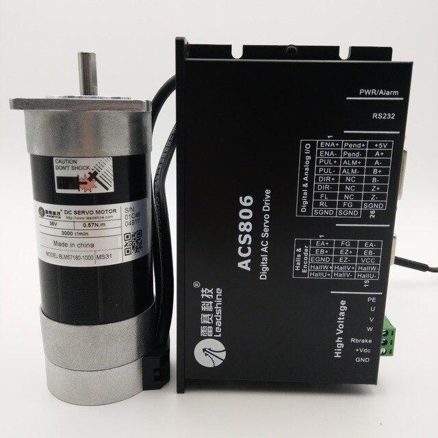 Leadshine 180W DC Brushless Servo Motor Diver Kit Square Flange 6.7A 36VDC 0.57NM 3000RPM Pulse Control BLM57180-1000+ACS806