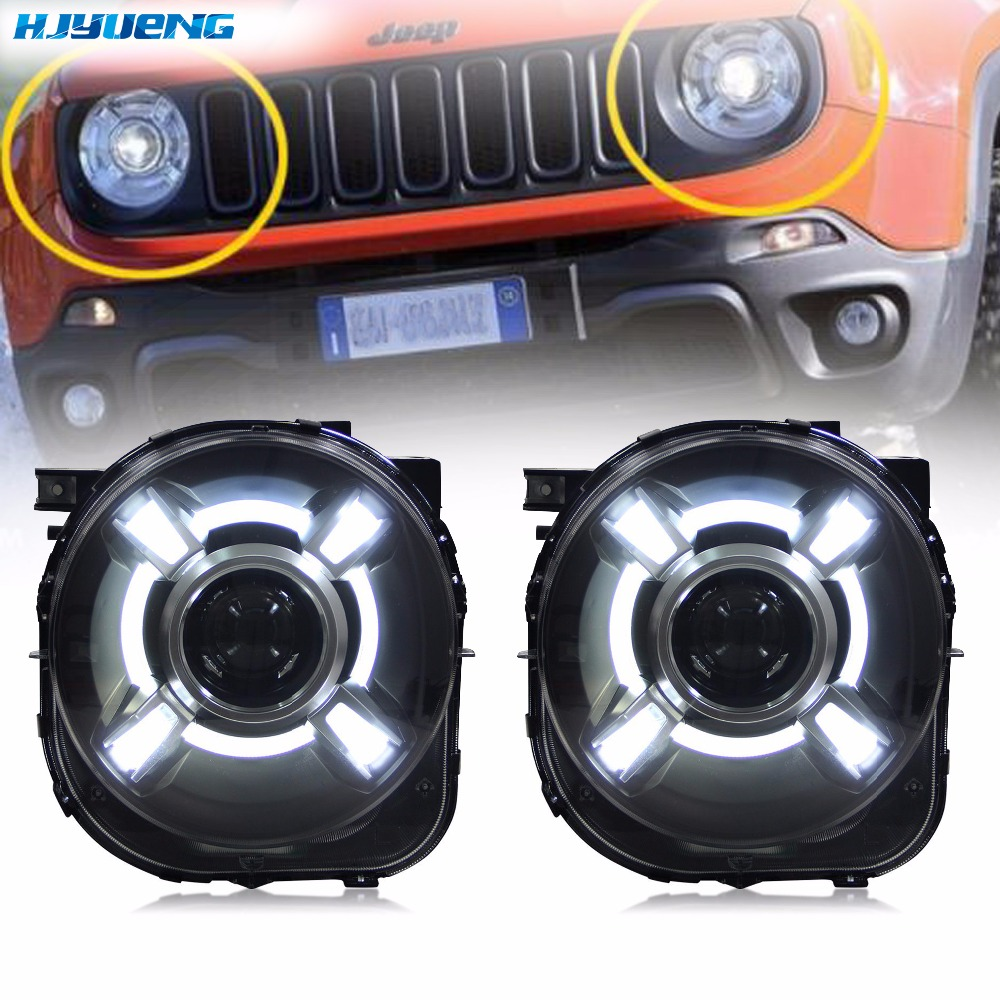 55W 2015-2017 For Jeep Renegade HID LED Headlight with DRL and Bi-xenon Projector For Jeep Renegade HID Headlight with LED DRL