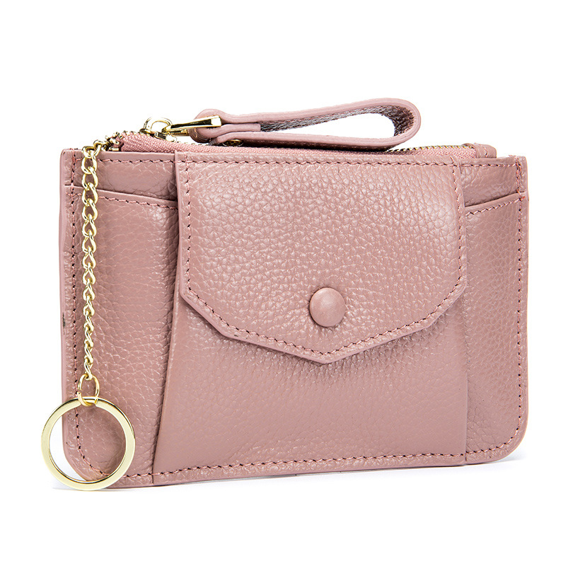 2018 New Small Coin Purse Zipper Coins Bag for Women Lady Mini Genuine Leather Wallets New Clutch Purse with Key Chain