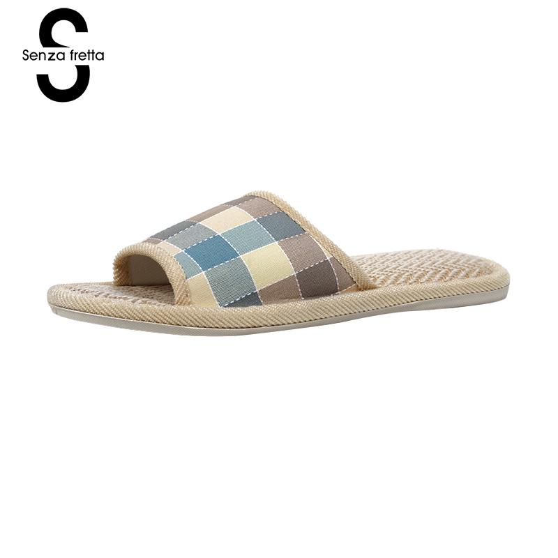 Senza Fretta Shoes Women Autumn Men Home Slippers Plaid Linen Soft Slippers Indoor Bedroom Slippers Couple Floor Warm Shoes senza fretta men shoes home linen slippers couple flat slippers hemp simple breathable soft floor slippers men slippers big size