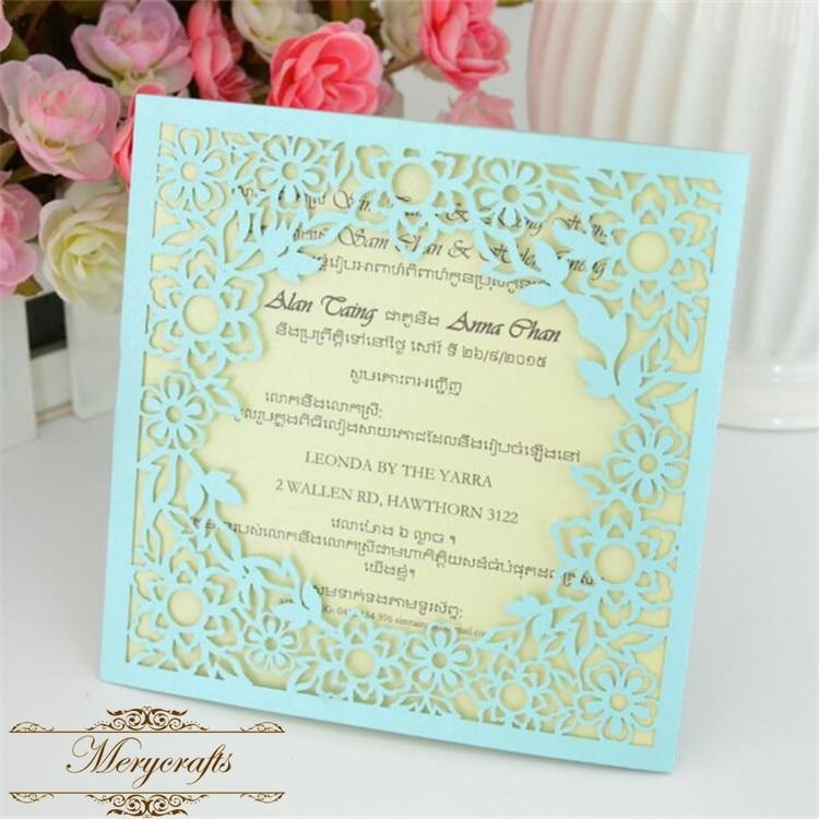 Latest design laser cut peach flower elegant wedding invitations-in ...