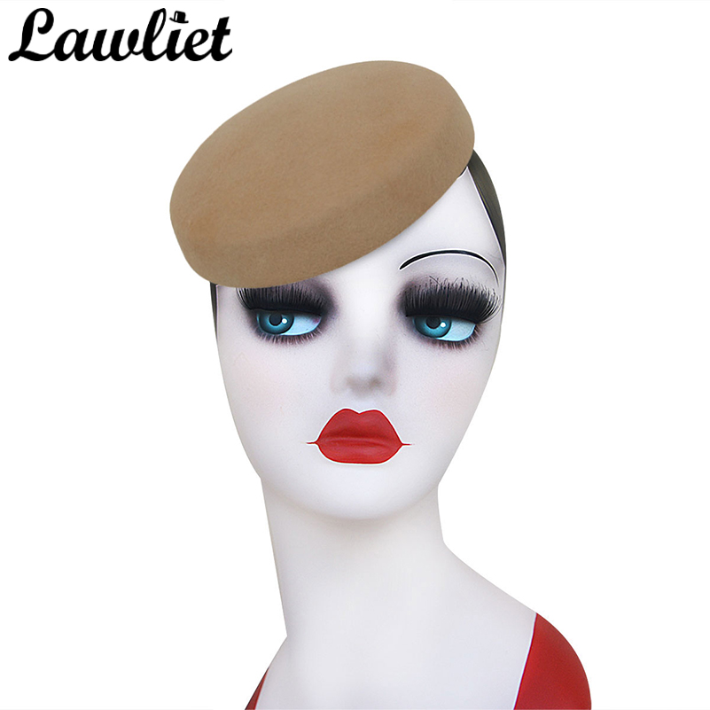 Lawliet Circle Women Headpiece Wool Felt Hats Pillbox Hats Fascinator for Women Millinery Hat Base Cocktail Part Hats 14 colors circle