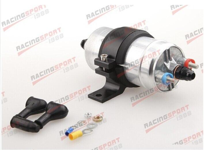 External Fuel Pump 044 for Bosch+Billet Bracket Black+8AN Inlet 6AN Outlet Black