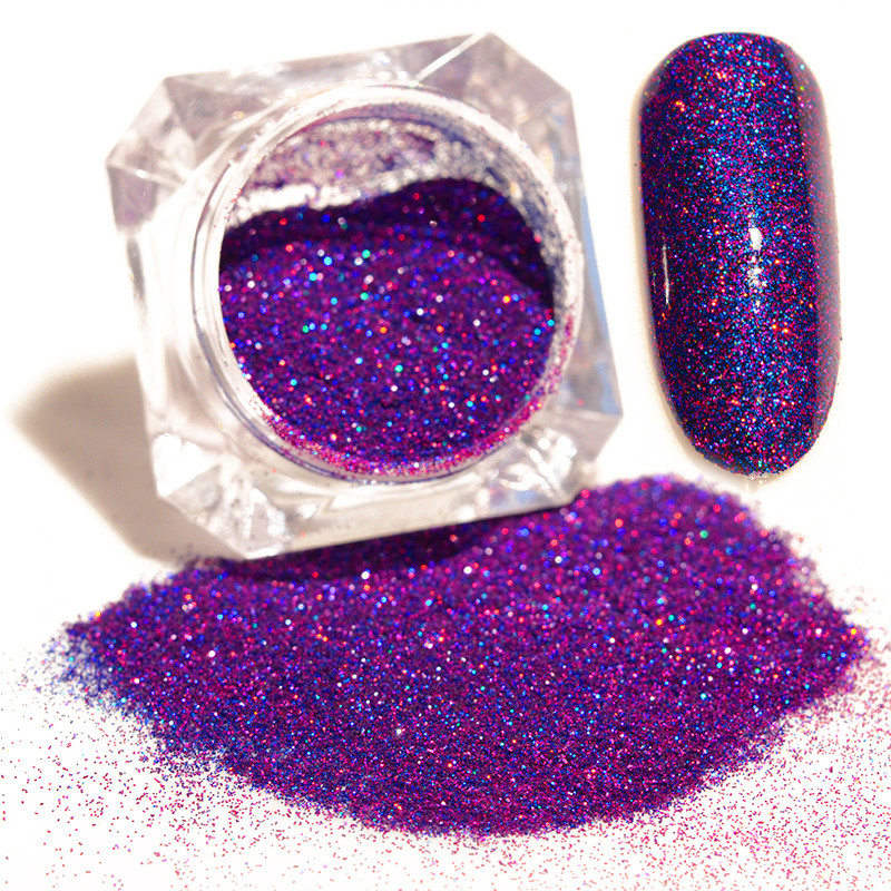 все цены на  Purple Starry Holographic Laser Nail Glitter Powder Manicure Nail Art Glitters Pigment Dust Powder for Nail Art Decoration  онлайн