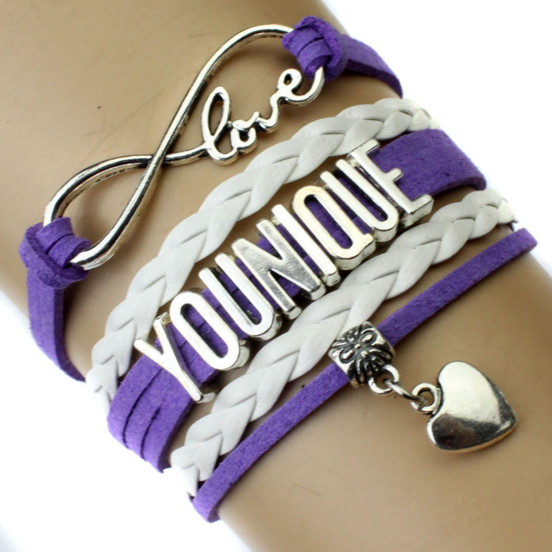 Infinity Love Younique Heart Charm Wrap Bracelet Purple Black White Multilayer Leather Cuff Wrist Band Jewelry