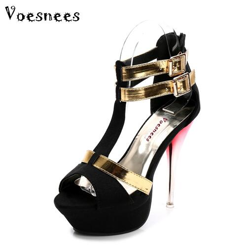 Super high heels New nightclub sexy stilettos waterproof sandals 2018 summer in Europe and the fish mouth women's shoes in the summer of 2016 the new wedge heels with fish in square mouth denim fashion sexy female cool shoes nightclubs