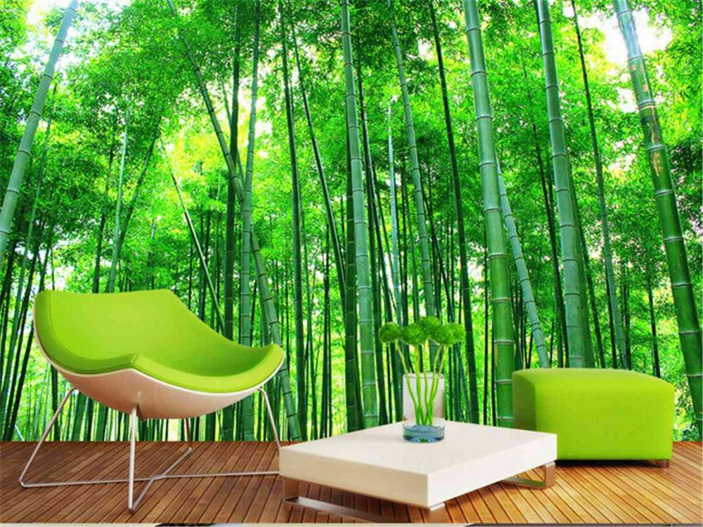Online get cheap bamboo wallpaper mural for Cheap green wallpaper