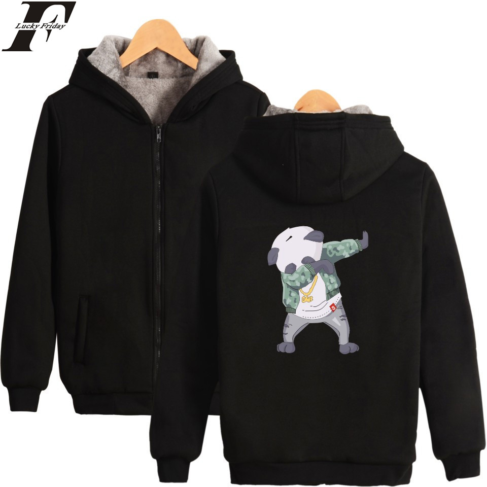 LUCKYFRIDAYF Funny Aminal Thicker Hoodies Men Zipper Kawaii Cartoon Thicker Sweatshirt Men Hoodie Winter Clothes With Zipper 4XL