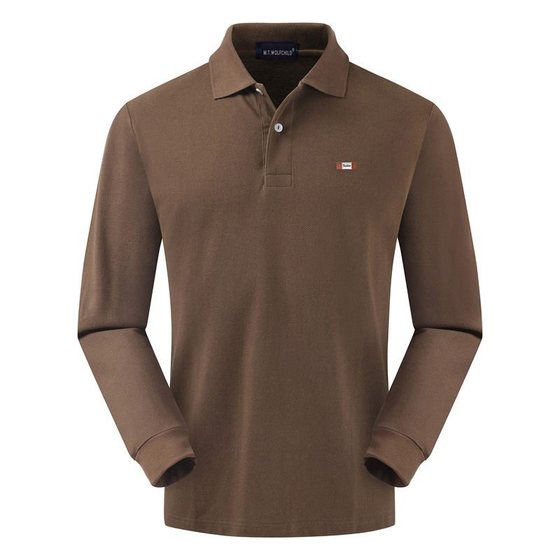 100% Cotton High Quality 2019 New Men's Long Sleeve Polos Shirts Mens Lapel Solid Color Polos Shirts Fashion Mens Tops XS-4XL