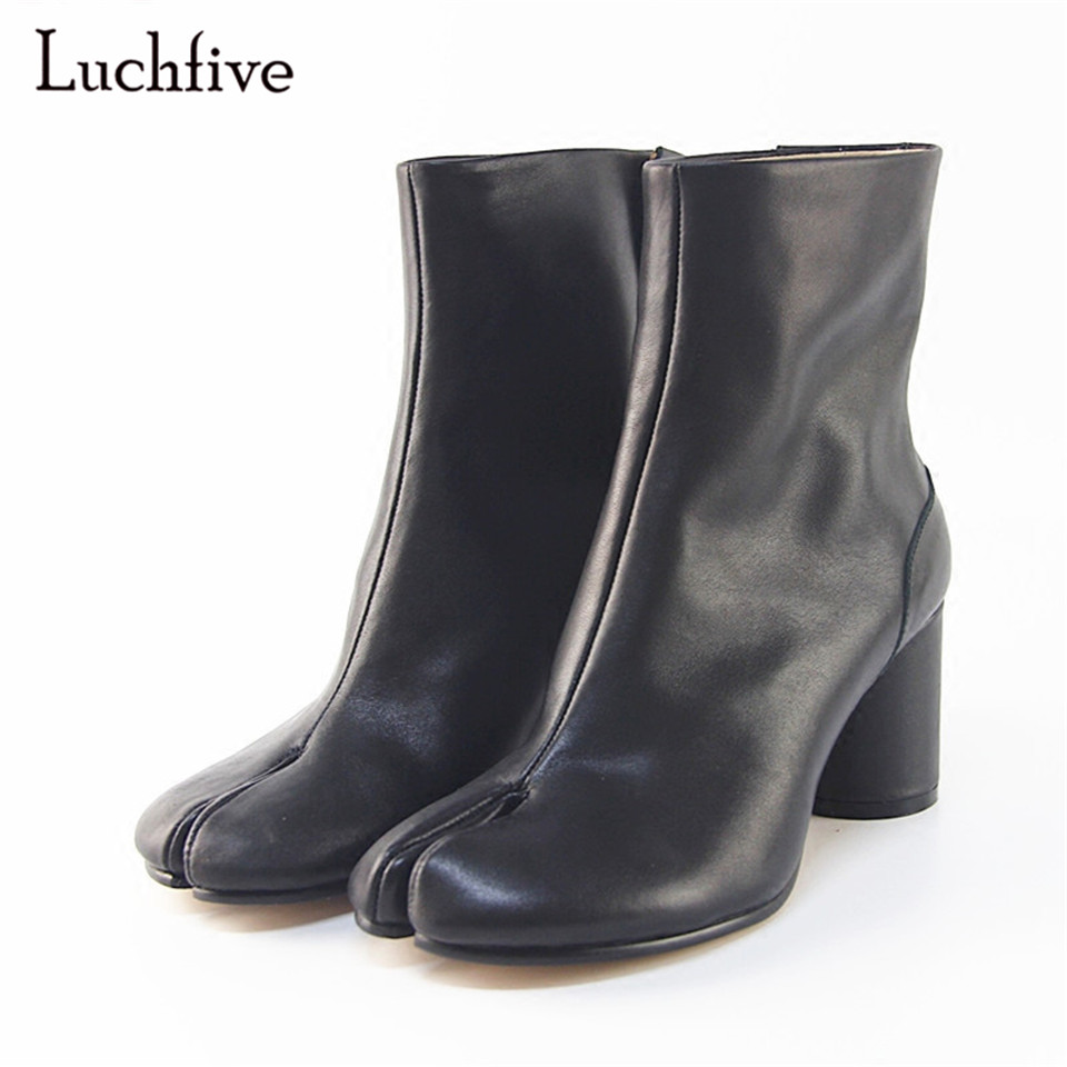 Fashion Invisible Zipper Ankle Boots For Women Round Chunky Heel Individual Split Toe Boots Runway Botas Mujer new arrival superstar genuine leather chelsea boots women round toe solid thick heel runway model nude zipper mid calf boots l63