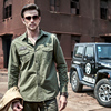 GustOmerD New Spring Summer Military Army Shirt Men Fashion Brand Clothes Casual Solid Color Slim Fit