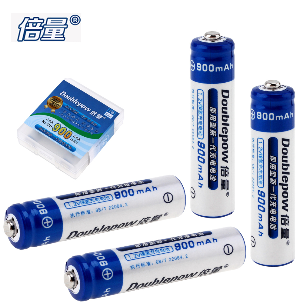4pcs! Doublepow 1.2V 900mAh AAA Battery Ni-Mh NiMh LSD AAA Rechargeable Battery with Radiating Hole for Toy Camera Headlamp