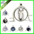 Ожерелье новый 6 стиль серебряный конь конный ювелирные изделия природа животных черный и белый искусство подвеска круглый искусство кулон мода ювелирных изделий