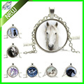 New 6 Style Silver Horse Necklace Equestrian Jewelry Nature Animal Black and White Art Pendant Round Art Pendant Fashion Jewelry