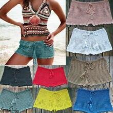 2019 Newest Women bikini bottoms shorts Summer Pure color bandage Crochet Swimming Bikini pool Cover ups Biquinis swimsuit Beach