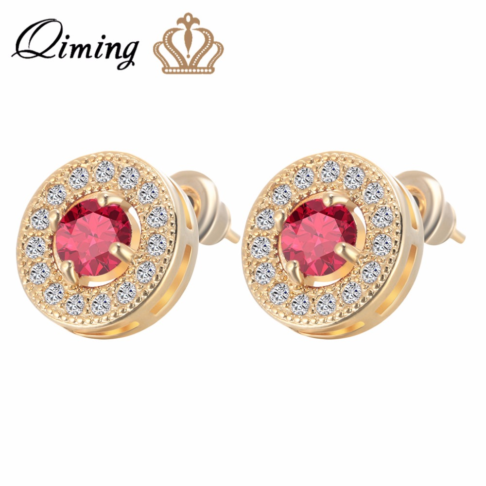 QIMING 2017 Trendy Gold Red Stones Crystals Girl Stud Earrings AAA Zircon Earrings For Women Wedding Jewelry Party Gift