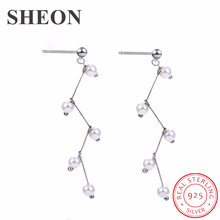 SHEON 2019 Women Earrings 100% 925 Sterling Silver Romantic Handmade Pearl Long Stud Authentic Jewelry