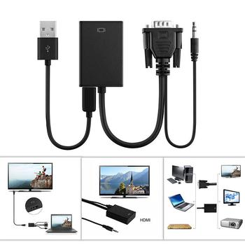 New VGA Male to HDMI Female Converter Adapter Cable With Audio Output 1080P VGA HDMI Adapter for PC laptop to HDTV Projector r10
